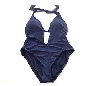 Trina Turk navy blue 1 piece swim suit Sz M/10 NWT